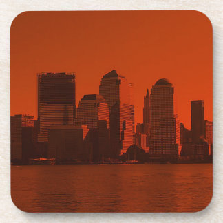 Nueva York horizonte rojo Posavasos De Bebidas