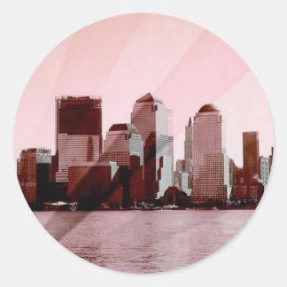 Nueva York, horizonte, suavemente rosa Pegatina