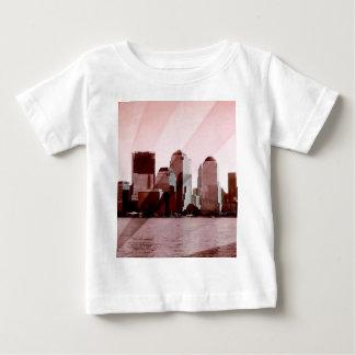 Nueva York, horizonte, suavemente rosa Playera