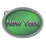 Nueva York industrial - en negro Hebilla De Cinturón Oval