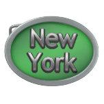 Nueva York industrial - en verde Hebillas De Cinturon Ovales