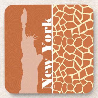 Nueva York; Jirafa; Estampado de animales Posavasos