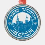 Nueva York judía Adorno Navideño Redondo De Metal