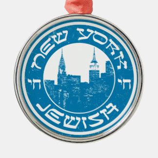 Nueva York judía Adorno Redondo Plateado