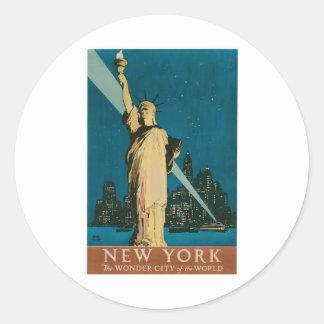 Nueva York: La ciudad de la maravilla del poster Pegatina Redonda