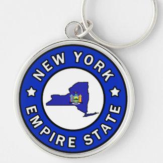 Nueva York Llavero Redondo Plateado