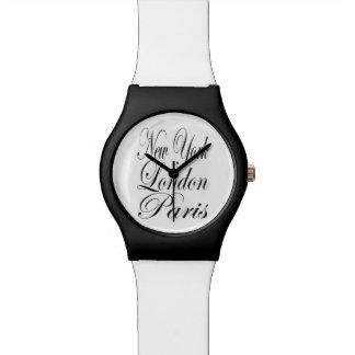 Nueva York Londres París - cita de la tipografía Relojes De Mano