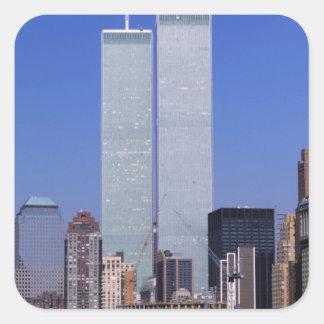 Nueva York, los E.E.U.U. Torres gemelas del mundo Pegatinas Cuadradas Personalizadas