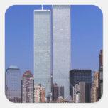 Nueva York, los E.E.U.U. Torres gemelas del mundo Pegatina Cuadrada