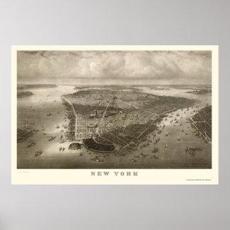 Nueva York mapa panorámico de NY - 1851 Impresiones