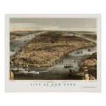 Nueva York, mapa panorámico de NY - 1856 Posters