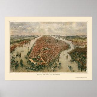 Nueva York, mapa panorámico de NY - 1865 Posters