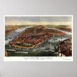 Nueva York, mapa panorámico de NY - 1870 Póster
