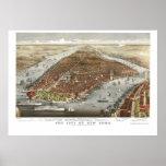 Nueva York, mapa panorámico de NY - 1876 Póster