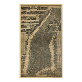 Nueva York, mapa panorámico de NY - 1879 Póster