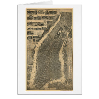 Nueva York mapa panorámico de NY - 1879 Tarjeton