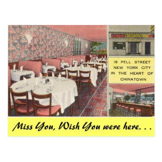 Nueva York, mesón del cruce, N.Y.C. Chinatown Tarjeta Postal