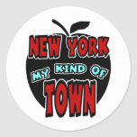 Nueva York mi clase de ciudad con Apple grande Pegatina Redonda