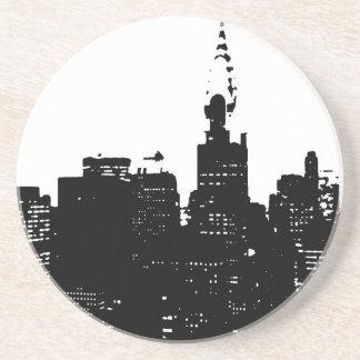 Nueva York negra y blanca del arte pop Posavasos De Arenisca