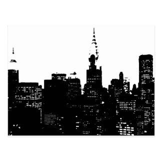 Nueva York negra y blanca del arte pop Tarjetas Postales