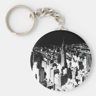 Nueva York negra y blanca Llavero Personalizado