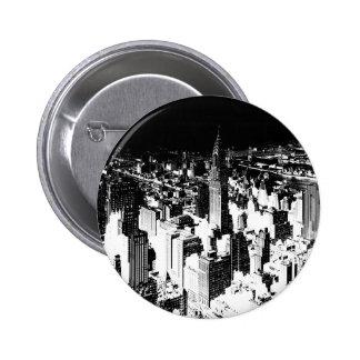 Nueva York negra y blanca Pin Redondo De 2 Pulgadas