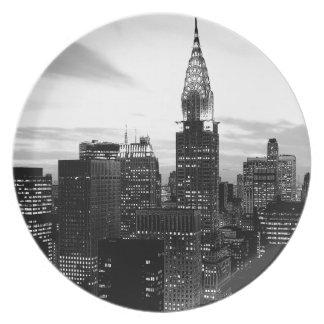 Nueva York negra y blanca Plato De Cena