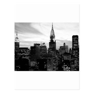 Nueva York negra y blanca Tarjetas Postales