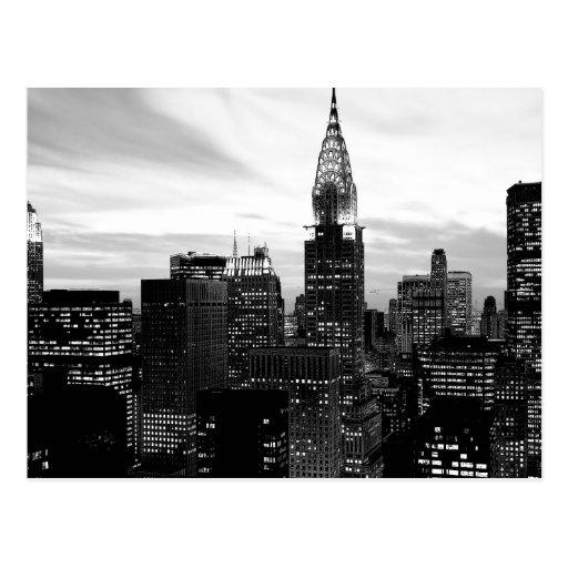 Nueva York negra y blanca Tarjeta Postal