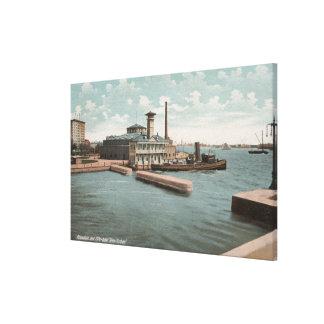 Nueva York, NY - acuario y lancha contraincendios  Impresión En Lienzo Estirada