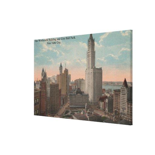 Nueva York, NY - edificio y ayuntamiento de Woolwo Lona Envuelta Para Galerias