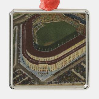 Nueva York, NY - Yankee Stadium del aire #1 Adorno Navideño Cuadrado De Metal