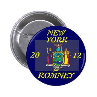 Nueva York para Romney 2012 Pin Redondo De 2 Pulgadas