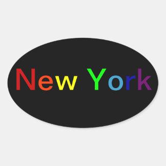 Nueva York Calcomanía Oval Personalizadas
