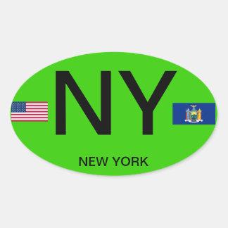 Nueva York * pegatina europeo del óvalo del estilo