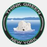 Nueva York polar verde Pegatina Redonda