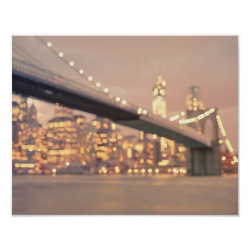 Nueva York - puente soñador de Bokeh Brooklyn Poster