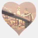 Nueva York - puente soñador de Bokeh Brooklyn Calcomania Corazon Personalizadas