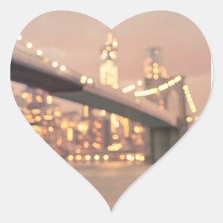 Nueva York - puente soñador de Bokeh Brooklyn Pegatina En Forma De Corazón