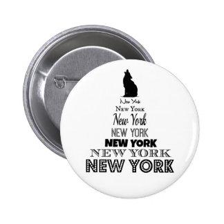Nueva York que grita, coyote del perro, lobo - Pin Redondo De 2 Pulgadas