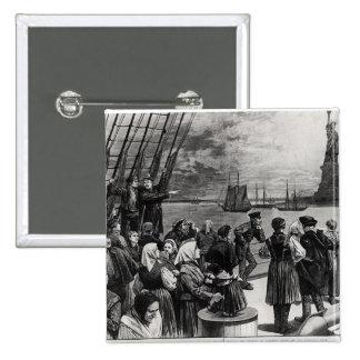 Nueva York - recepción a la tierra de la libertad Pin Cuadrada 5 Cm