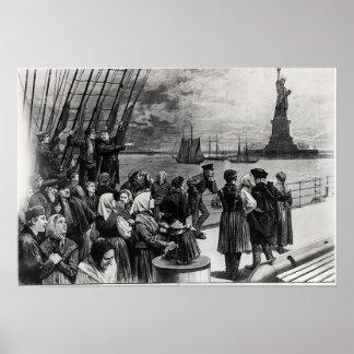 Nueva York - recepción a la tierra de la libertad Póster