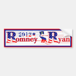 Nueva York Romney y pegatina para el parachoques 2 Pegatina Para Auto