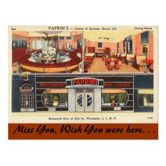 Nueva York, salón de la barra del restaurante de Tarjetas Postales