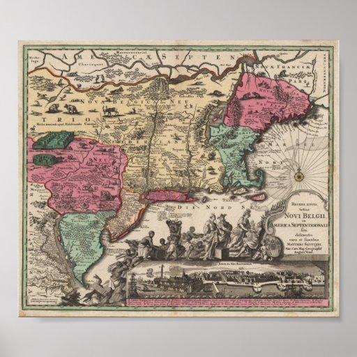 Nueva York Seutter, reproducción 1730 de Matthaeus Póster