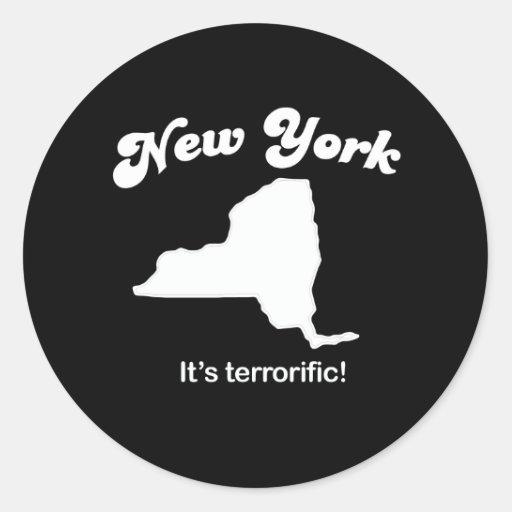Nueva York - su camiseta terrorific Etiquetas Redondas