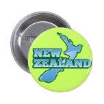 NUEVA ZELANDA con un mapa Pin Redondo 5 Cm