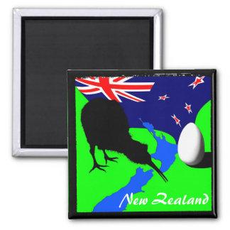 Nueva Zelanda, kiwi, bandera (imán) Imán Cuadrado