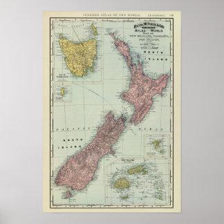 Nueva Zelanda, Tasmania, Fiji Póster
