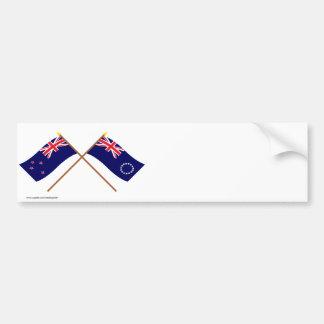 Nueva Zelanda y banderas cruzadas de las islas de  Pegatina De Parachoque